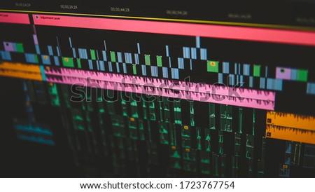 Video Editing process close up