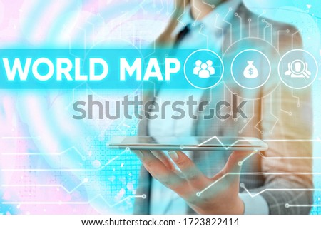 Conceptual hand writing showing World Map. Business photo showcasing a diagrammatic representation of the surface of the earth. #1723822414