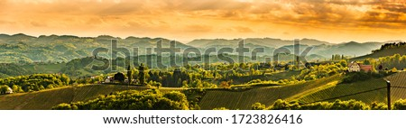 Panoramic view at famous wine street in south styria, Austrian destination, tuscany like vineyard hills. Tourist destination #1723826416