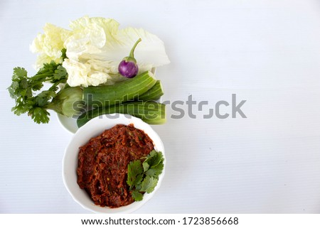 pickled fish chilli vegetables on white background #1723856668