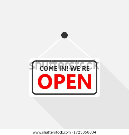 Come in we are open sign on signboard with rope for business, Online Shopping, Vector design of flat icon on isolated background. #1723858834