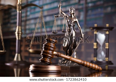 Judge's gavel on library background. Law and justice concept. #1723862410