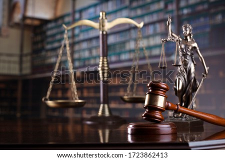 Judge's gavel on library background. Law and justice concept. #1723862413