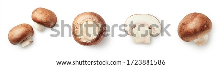 Set of fresh whole and sliced champignon mushrooms isolated on white background. Top view #1723881586