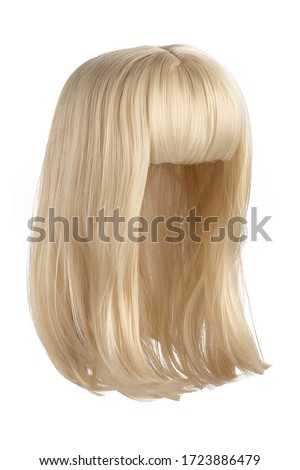 Subject shot of a natural looking golden blonde wig with bangs. The shoulder-long wig is isolated on the white background.  Royalty-Free Stock Photo #1723886479
