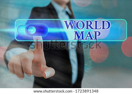 Conceptual hand writing showing World Map. Business photo showcasing a diagrammatic representation of the surface of the earth. #1723891348