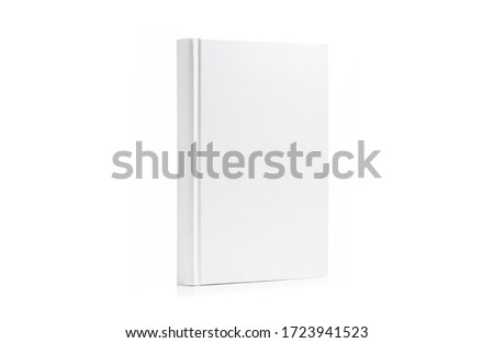 Book with blank cover perched vertically isolated on white background Royalty-Free Stock Photo #1723941523