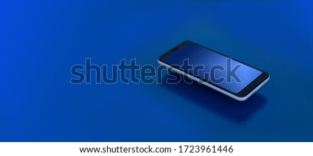 Modern Smartphone with reflection on the screen  lies on a dark blue surface in perspective view. Template for infographics or presentation UI design interface.
