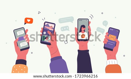 Young People use Smartphones and Surfing in Social Media. Boys and Girls Chatting, Watching Video, Liking Photos. Female and Male Characters Talking in Mobile App. Flat Cartoon Vector Illustration. #1723966216