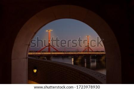 Hungary Budapest. Amazing framed photo about the Rakoczi (original name is Lagymanyosi) bridge. Evening picture in hihg quality.  Illuminated modern bridge.