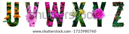Floral letters. The letters U, V, W, X, Y, Z are made from colorful flower photos. A collection of wonderful flora letters for unique spring decorations and various creation ideas. clipping path #1723980760