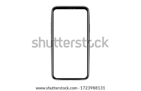 Smartphone mockup. New black frameless smartphone mockup with white screen. Isolated on white background. Based on high-quality studio shot. Smartphone frameless design concept. #1723988131