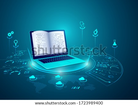 concept of e-learning technology, graphic of realistic computer notebook with book's pages as screen Royalty-Free Stock Photo #1723989400