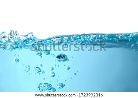 Surface Water drops, splashing waves 3D, transparent blue with bubbles In beautiful nature On a white background