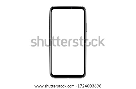 Smartphone with a blank screen lying on a flat surface. High Resolution Vector illustration of responsive web design ,app, template site,The shape of a modern mobile phone Designed New black frameless