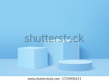 Background vector 3d blue rendering with podium and minimal blue wall scene, minimal abstract background 3d rendering abstract geometric shape blue pastel color. Stage for awards on website in modern. #1724006611