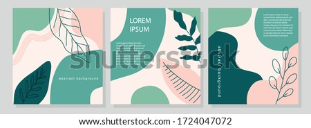 Set of three stories pastel shades templates with abstract botanical and organic shapes pink and green. Universal templates for invitation. Greeting cards, flyers, newsletter, branding design, covers. Royalty-Free Stock Photo #1724047072