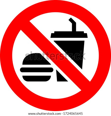 No food and drink forbidden sign, modern round sticker, vector illustration Royalty-Free Stock Photo #1724065645