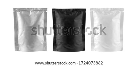 Mockup Stand Up Blank Bag black , gray and white For Coffee, Candy, Nuts, Spices, Self-Seal Zip Lock Foil Or Paper Food Pouch Snack Sachet Resealable Packaging Royalty-Free Stock Photo #1724073862