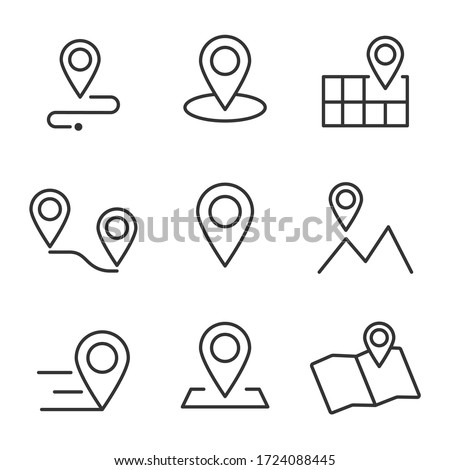 Set of Geolocation map mark, Related Line Icons. line icon, Collection of Icons map point location. Editable Stroke map mark location set icon. Illustration set, Icons vector map pin location, #1724088445