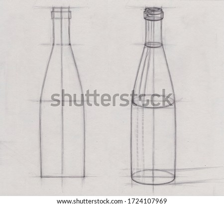 Art studio school pencil  linear contour drawing sketch of a wine glass bottle. Art education outline hatching sequence example tutorial step by step. Lines and strokes