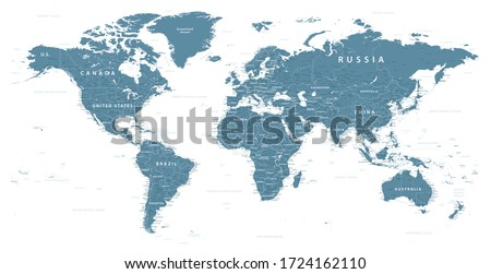 World Map Political - vector illustration. Highly detailed map of the world: countries, cities, water objects #1724162110