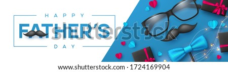 Happy Fathers Day banner with glasses, bow tie, mustache, gift box and hearts. Realistic style decorative elements with greeting text. Vector promotional template. #1724169904