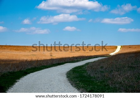 This beautiful Kansas Tallgrass Prairie Preserve photo is patterned with shadows of the clouds overhead and has a winding road disappearing over a hill of early spring golden grass #1724178091