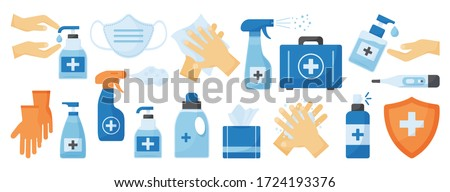 Disinfection. PPE icon. Hand hygiene. Set of hand sanitizer bottles, medical mask, washing gel, spray, wipes, liquid soap, gloves, first aid kit, thermometer. Personal protective equipment. Vector #1724193376