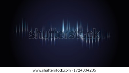 Sound wave. Dynamic vibration wallpaper. Abstract sound wave element on blue background. Music visualization, futuristic graphic element as digital equalizer. Frequency pulse modulation vector #1724334205