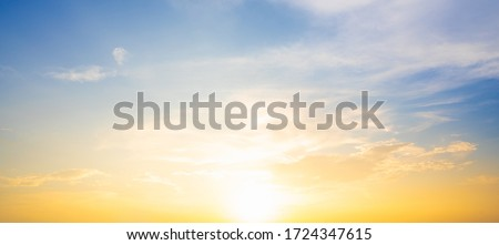 Sunset sky for background or sunrise sky and cloud at morning. Royalty-Free Stock Photo #1724347615