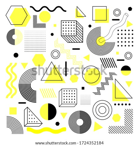 Universal trend halftone geometric shapes set juxtaposed with bright light yellow elements composition. Design yhis elements perfect for Magazine, leaflet, billboard, sale #1724352184