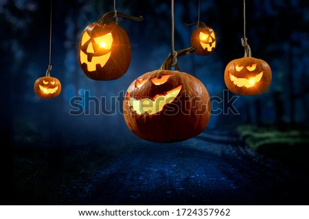 Halloween design with pumpkins . Mixed media #1724357962