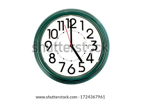 five o'clock on a clock with large numbers #1724367961