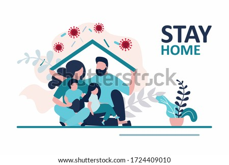 Stay home banner template. Family sitting home. Quarantine or self-isolation. Health care concept. Fears of getting coronavirus. Global viral epidemic or pandemic. Trendy flat vector illustration #1724409010