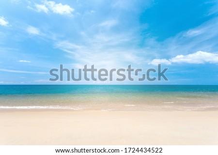 Travel vacation background, at summer beach, with sunny sky at Phuket,Thailand. Royalty-Free Stock Photo #1724434522