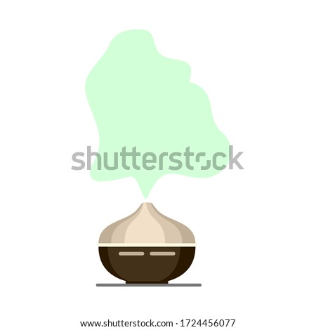 aroma diffuser, home aromatherapy for comfort and relaxation, vector illustration on a white background Royalty-Free Stock Photo #1724456077