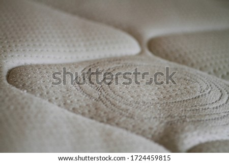 Closeup bed Mattress. Bed Mattress close up. Luxurious and comfortable spring mattress closeup. #1724459815