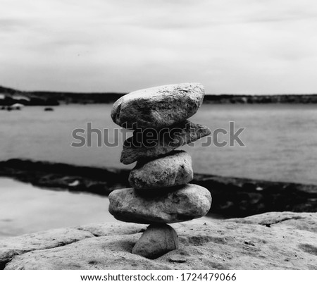 Black and White Background Tower of Rocks #1724479066