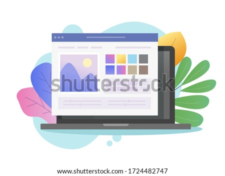 Image software photo editor online vector on laptop pc or computer artist studio picture creating and digital drawing program flat cartoon, concept of photographer soft on colorful background