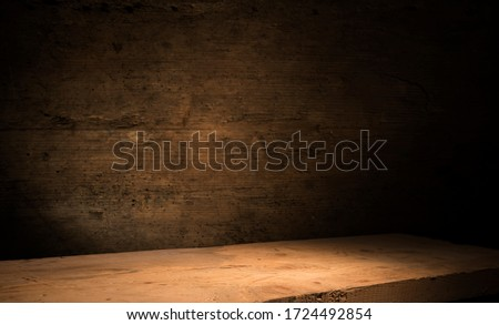 background of barrel and worn old table of wood #1724492854