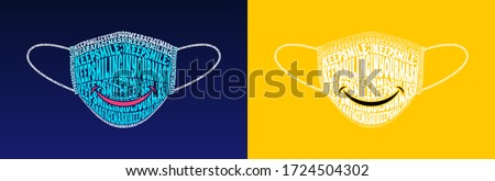 Keep Smile Even If You Wear a Face Mask. Keep Smiling in your mask text warp illustration, isolated on solid yellow and blue gradient. Royalty-Free Stock Photo #1724504302