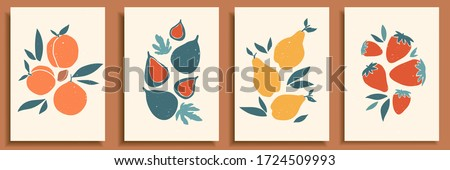 Abstract still life in pastel colors poster. Collection of contemporary art. Abstract paper cut elements, fruits and berries for social media, postcards, print. Hand drawn pear, peach, fig, strawberry #1724509993