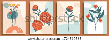 Collection of contemporary art posters in pastel colors. Abstract paper cut geometric elements, shapes and strokes, leaves, flowers and dots. Great design for social media, postcards, print. #1724510365