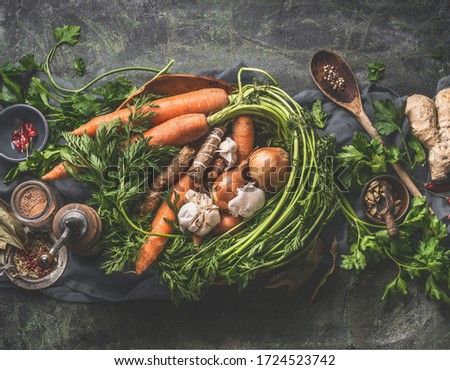 Healthy vegetarian food ingredients for tasty cooking. Laid out on a rustic background, with vintage spoons and bowls. Top view. Keto dieting. Natural organic and clean vegetables. Vintage  #1724523742