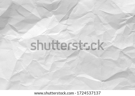 White crumpled paper background, texture old for web design screensavers. Template for various purposes or creating packaging. Royalty-Free Stock Photo #1724537137