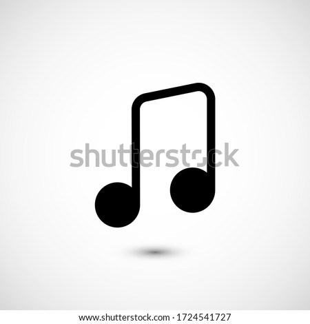 Note music vector icon. The symbol song icon for web site. Illustration Melody or tune for mobile apps. Pictogram Note. Minimalist icon music, note icon. Sound concept #1724541727