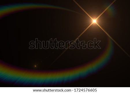 Abstract Natural Sun flare on the black background, flare light transition, effects sunlight, lens flare #1724576605