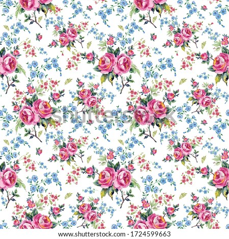 Bright seamless pattern flowers drawn on paper paints.Stylish print for textile design and decoration.  #1724599663
