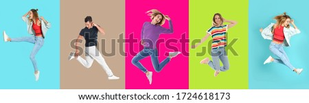 Collage with photos of young people in fashion clothes jumping on different color backgrounds. Banner design #1724618173